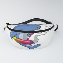 Narwhal Fish Riding Unicorn Float Funny Pool Party Fanny Pack