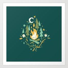 S'More Campfires (Evergreen) Art Print