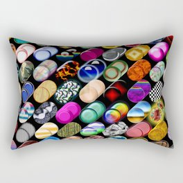 Cylinder shapes with random colors Rectangular Pillow