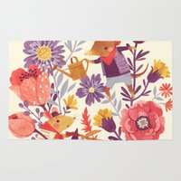 spring Area & Throw Rugs featuring The Garden Crew by Teagan White