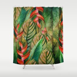 Painted Jungle Leaves 2 Shower Curtain
