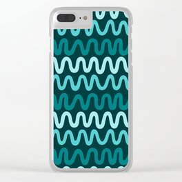 Bold Teal Waves Clear iPhone Case
