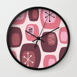 Mid Century Modern Oblongs Pink Wall Clock