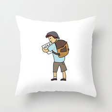 Backpacker Throw Pillow