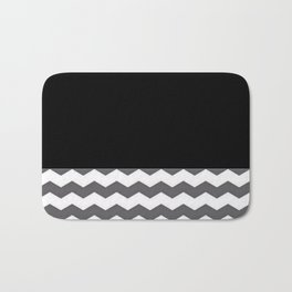 Chevron Gray Black And White - Glamour Bath Mat