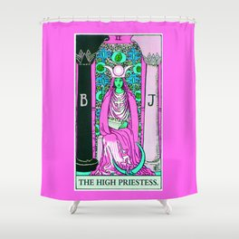 2. The High Priestess- Neon Dreams Tarot Shower Curtain