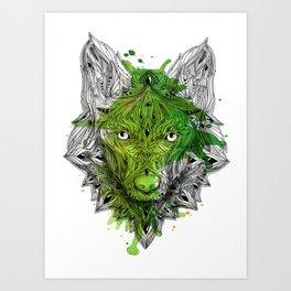 Ornament Wolf - Green Aquarell Art Print