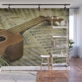 Do a Little Jig; ukulele with sheet music in the background Wall Mural