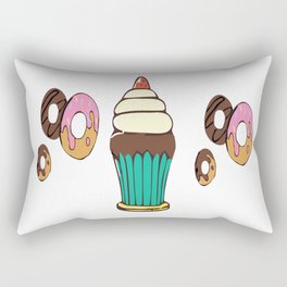 Donuts and a Cupcake White Background Rectangular Pillow