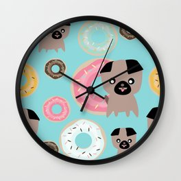 Pug and donuts blue Wall Clock