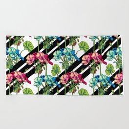 Flowers & Strips Beach Towel