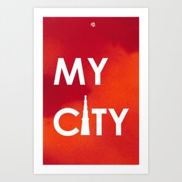 MyCity-Delhi-RedOrangeA Art Print