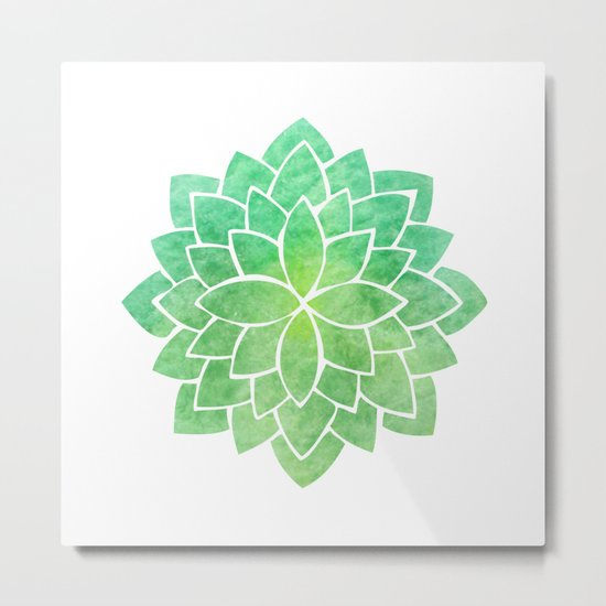 Green Grass Mandala Metal Print