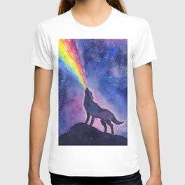 Galaxy Wolf Howling Rainbow T-shirt
