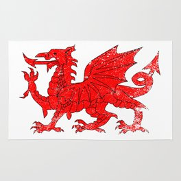 Welsh Dragon With Grunge Rug