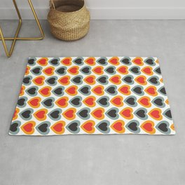 Mid-century Modern Hearts, Abstract Vintage Heart Pattern in Classic Red, Orange, Black and Grey Blue Color Rug