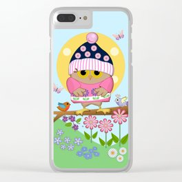 Spring owl in her new dress Clear iPhone Case