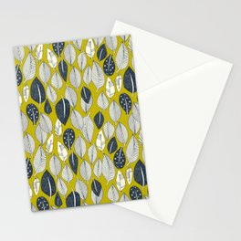 leaves and feathers chartreuse Stationery Cards