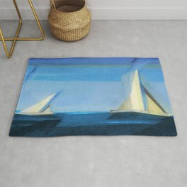 Marine Two nautical landscape painting by by Lyonel Feininger Rug