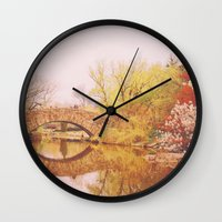 central park Wall Clocks featuring Central Park by Vivienne Gucwa