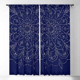 Mandala Silver-Blue Flower  Blackout Curtain