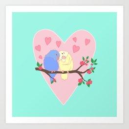 Valentine's day birds Art Print