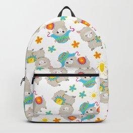Pattern Of Alpacas, Cute Llamas With Hats, Flowers Backpack