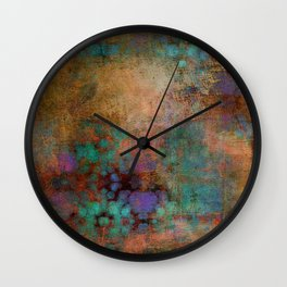 Bronze, Teal and Purple Abstract Wall Clock