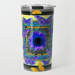 PURPLE-GREY BUTTERFLIES SUNFLOWERS MODERN ART Travel Mug