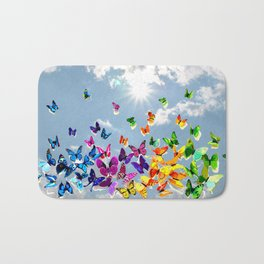 Butterflies in blue sky Bath Mat