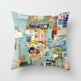 Vintage New York Collage Throw Pillow