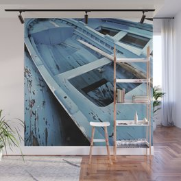 Blue Painted Rustic Wooden Fishing Boats Wall Mural