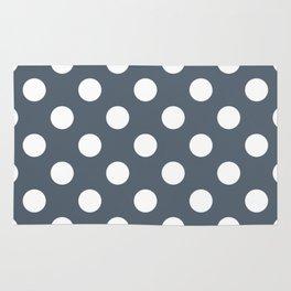 Black olive - grey - White Polka Dots - Pois Pattern Rug