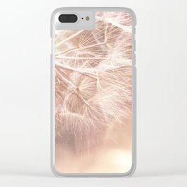 Pink Macro (2) Dandelion Flower - Floral Nature Photography Art and Accessories Clear iPhone Case