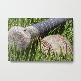 Baseball and Bat on Grass 3 Metal Print