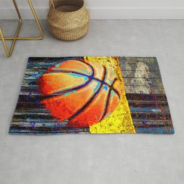 Basketball artwork swoosh 139 - Basketball art poster print Rug