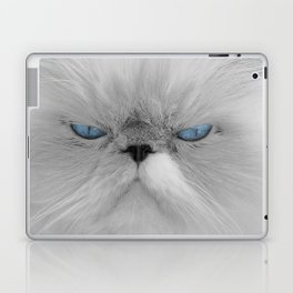 White Angry Cat Laptop & iPad Skin