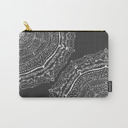 Modern Black and White Scribble Bohemian Mandala Carry-All Pouch