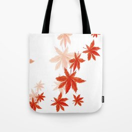 Falling red maple leaves watercolor painting Tote Bag