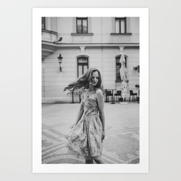 Girl with vintage dress in the city Art Print