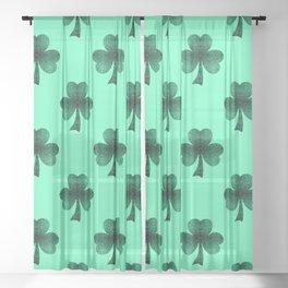 Emerald green shamrock clover sparkles Sheer Curtain