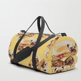 Pugs Burger Watercolor Duffle Bag