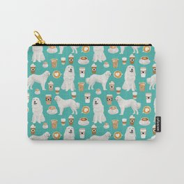 Great Pyrenees coffee lover pattern print gifts for dog breed unique dog person Carry-All Pouch