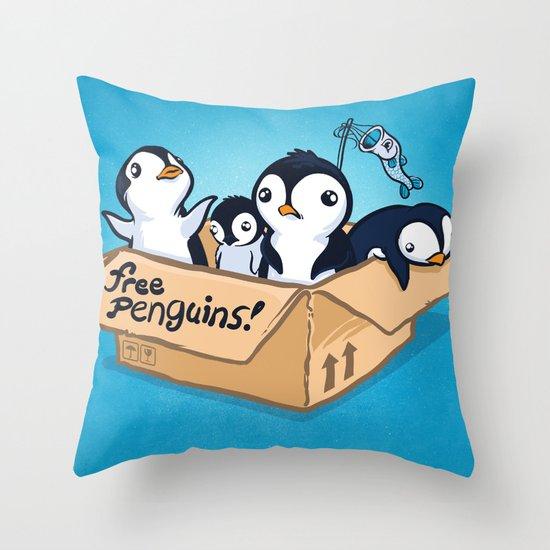 Free Penguins! Throw Pillow