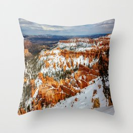 Snowy Day at Bryce Canyon - Snow Covered Landscape in Southwest Utah Throw Pillow