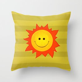 Smiling Happy Sun Throw Pillow