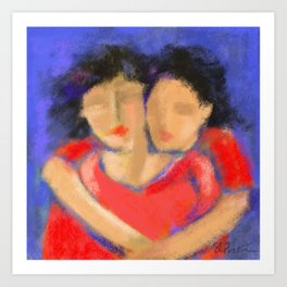 Women in Red # 16 Art Print