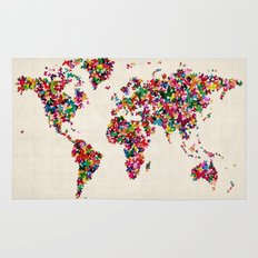 Butterflies Map of the World Map Rug