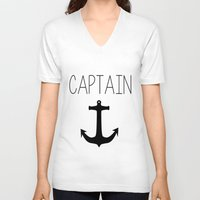 captain V-neck T-shirts featuring Captain by Nicolekay