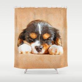 Cavalier King Charles Spaniel Puppy Shower Curtain
